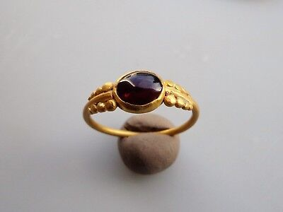 Roman gold ring with red carnelian stone .Circa 2nd-4th C.AD