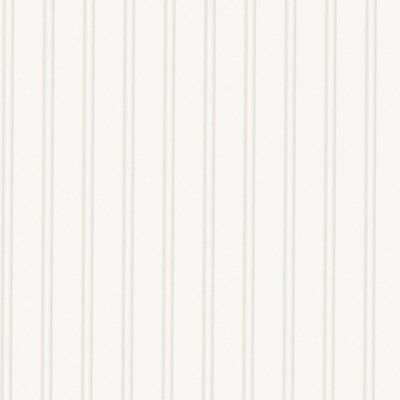 New Super Fresco 56 sq. ft. 1 Double Roll Beadboard Paintable White Wallpaper