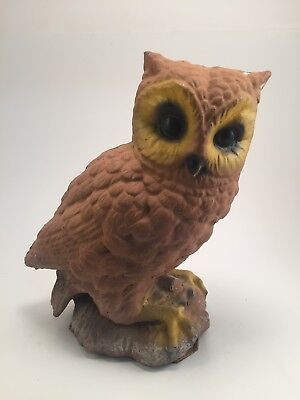 "Concrete Owl Garden Statue. Vintage. Brown Yellow Black. Used. 10"". Cement."