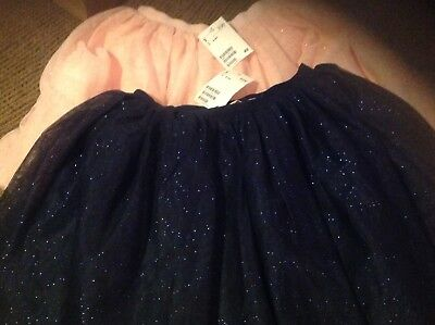 H&M Girls Pink and Navy Blue Sparkle Tulle Tutu Skirt Size 8-10Y Lot of (2)
