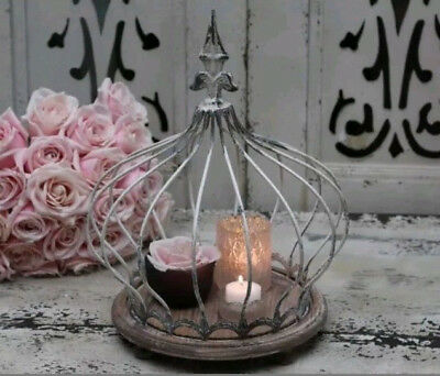 Chic Antique Crown Lantern Dome Lily Shabby Vintage Country House