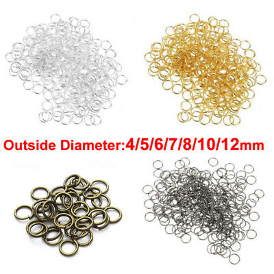 100pcs Open Rings 4 - 12mm Split Jump Rings Jewelry Making Craft Round Oval