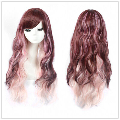 Fashion Rose Highlight Pink Wig Barbie Doll Long Big Wavy Hair Synthetic Wigs