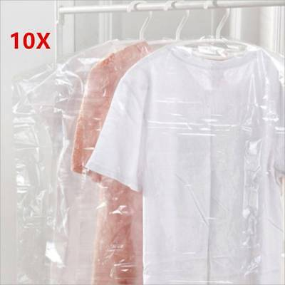10pcs Clothes Suit Garment Dustproof Cover Transparent Plastic Storage Bag Lot