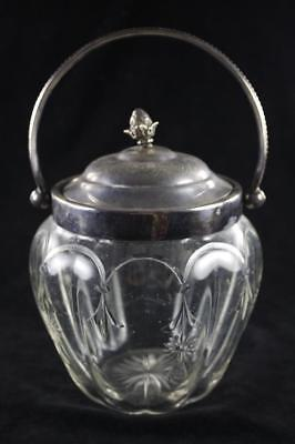 Antique Victorian Js&s Glass Silver Plated Biscuit Barrel