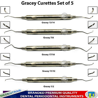 X5 Dental Tooth Perio Gracey Curettes Periodontal Root Canal Scaler 10mm Handle
