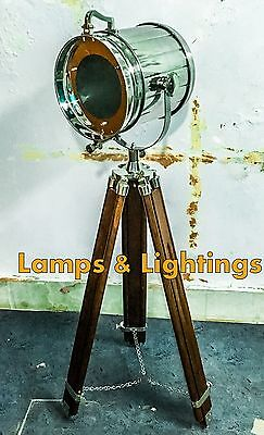 Chrome Vintage Industrial Tripod Floor Lamp Nautical Spot Light Retro Floor Lamp