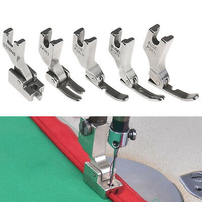 5X Industrial Sewing Machine Hinged Narrow Left Right Center Zipper Feet Silver