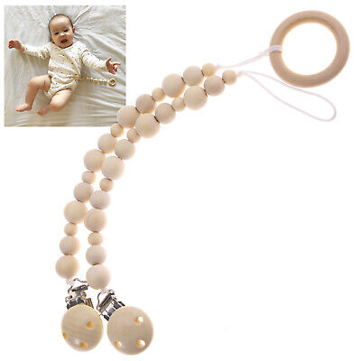 Wooden Pacifier Clip Dummy Holder Chew Baby Nursing Soother Kid Toy 20-30cm