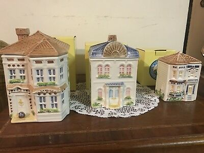 Vintage 3 piece Avon Townhouse Canister Collection ~Hand Painted. In Box