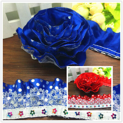 NEW DIY 3/5 Yards 3-Layer Blue Red Organza Lace Gathered Pleated sequined Trim