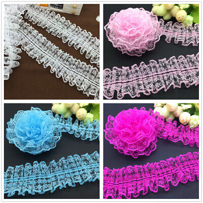 NEW DIY 3/5 Yards Fashion Multiple colors Organza Lace Gathered Pleated Trim