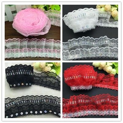 NEW DIY 3/5 Yards 4-Layer Organza Lace Gathered Sequined Pleated Trim Craft Many
