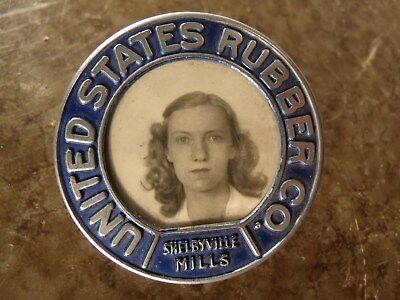 50s UNITED STATES RUBBER CO Uniroyal Tire EMPLOYEE ID BADGE Shelbyville MILLS TN