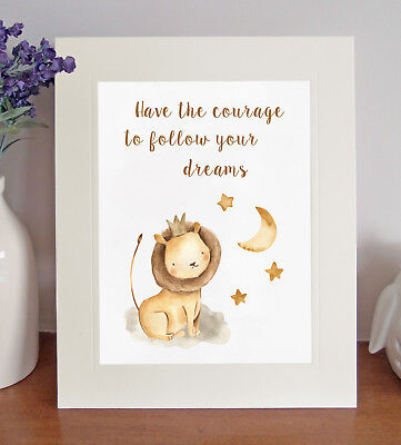 Newborn Baby 'Follow Your Dreams' 8 x 10 Picture Nursery Print Christening Gift