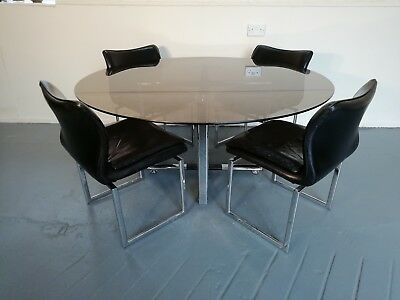 Stunning 1960s Pieff Glass Dining Table & Leather Chairs, Retro, Mid Century