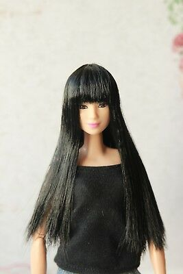 Black long wig for Barbie doll 4 inch