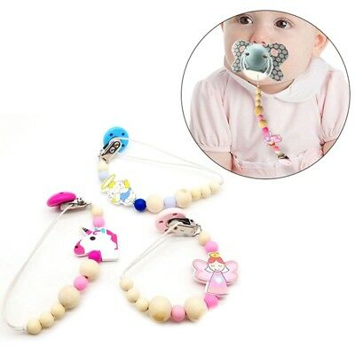 Wooden Pacifier Clip Dummy Holder Chain DIY Chew Baby Teether Nursing Wooden Toy