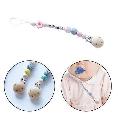 Wooden Bead Dummy Pacifier Clip Holder Soother Chains Baby Teething Chew Toy