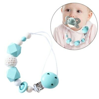Pacifier Teething Silicone Wooden Baby Teether Chain Clip Bead Dummy Holders