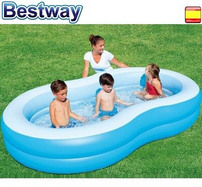 Piscina hinchable para niños 262x157x46cm bestway + parches
