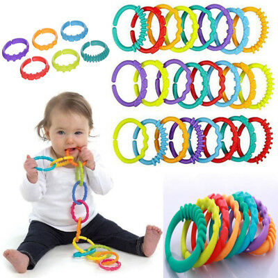 6PCS Rainbow Teether Ring Links Plastic Baby Infant Stroller Gym Play Mat Toy AU