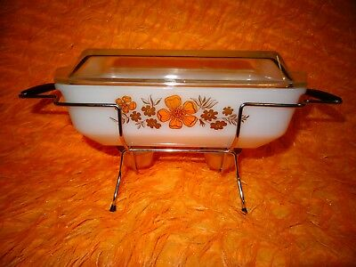 1970's Orange and White Crown Ovenware Covered Casserole with Candle Warmer