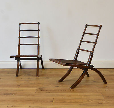 PAIR AESTHETIC MOVEMENT WALNUT FOLDING CHAIRS  E.W Godwin Manner Arts & Crafts