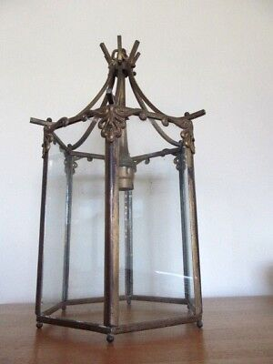 Antique Ornate  Solid Brass Porch / Hall Light / Lantern / Lamp.  Sidcup Kent