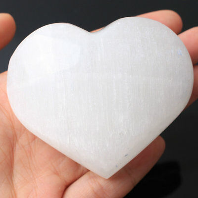 10Pcs White selenite Stone quartz crystal Heart Shaped Relaxation Reiki healing