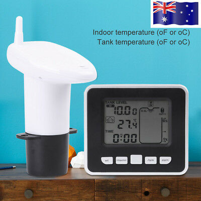 Wireless Ultrasonic Water Tank Level Meter Sensor + Thermometer Transmitter 15m