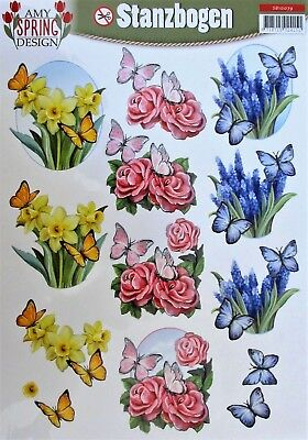 A4 DIE CUT 3D PAPER TOLE DECOUPAGE Push Out Sheet Flowers Roses Butterflies