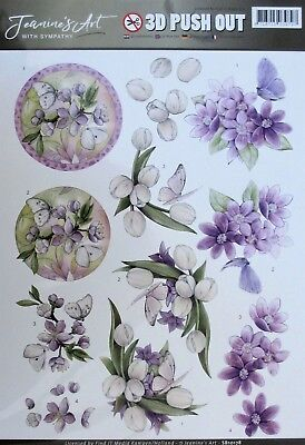 A4 DIE CUT 3D PAPER TOLE DECOUPAGE Push Out Sheet Flowers Sympathy Butterflies