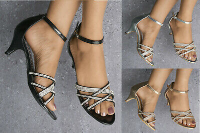 Ladies Diamante Strappy Kitten Heel Peep Toe Ankle Strap Sandals Shoes Sizes 3-8