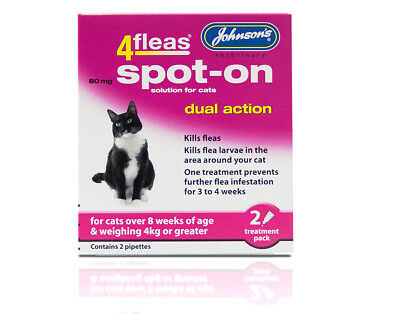 Johnson's 4Fleas Spot-On Dual Action Solution for cat over 4Kg  Flea Treatment