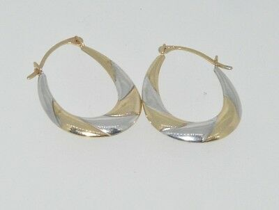 9ct Yellow Gold Round Creole Diamond Shape Patterned Earrings 0.6g *BRAND NEW*