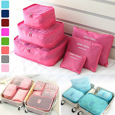 6Pcs Travel Luggage Packing  Organizer Pouch Clothes Storage Bags Waterproof JS