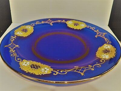 Moser Bohemian Gold Encrusted Cobalt Blue Glass Plate with Applied Flowers