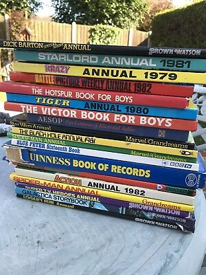VINTAGE BOOKS FOR BOYS ANNUAL DATED 1970 to 1980s