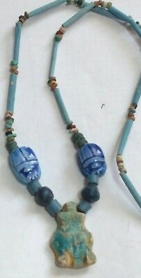 "Queen Cleopatra Egyptian Pharaoh's Necklace, Mummy Beads Terracotta 24""/B1"