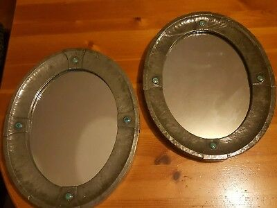 Rare Liberty arts & crafts movement mirrors Ruskin Cabachons pair !!
