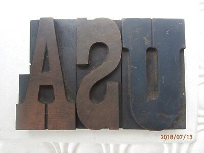 "Letterpress Printing Wood Type 3 Blocks Spelling Usa In Capital Letters 5"" High"