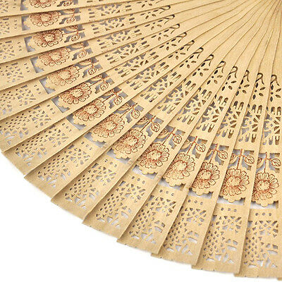 Chinese Folding Bamboo Original Wooden Carved Hand Fan Pop _UK OH