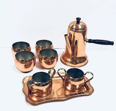 Vtg Coppercraft Turkish Coffee Pot Creamer Sugar Bowl Tray Roly Poly Cups MCM