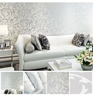 Gold 3D Luxury Gold Damask Embossed Wallpaper Rolls Feature TV Background Decor
