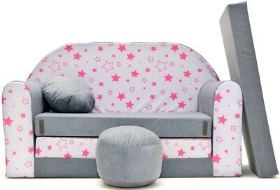 Kids Sofa Bed Beds Children Furniture Velour Cover + Free Footstool & Cushion