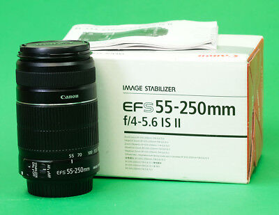 Canon EFS 55-250mm F4.5-5.6 Image Stabilizer MKII Zoom + Front & Rear Caps