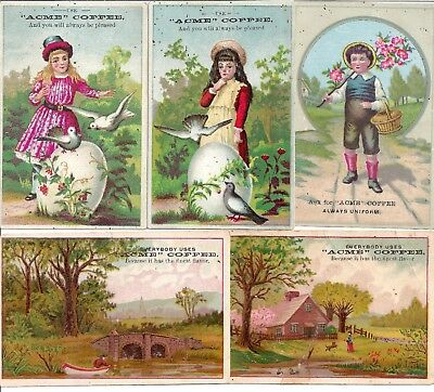 Antique Five Trading Cards -- Acme Coffee