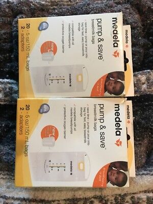 Medela Pump and Save Breastmilk Bags, 20 Count & 2 adapters Lot of 2 SAVE BIG