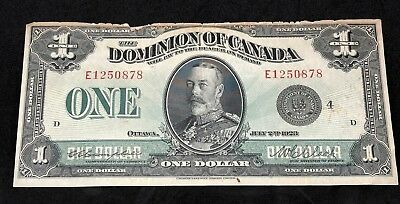 1923 Dominion of Canada 1 One Dollar Banknote King George V Ottawa Currency Note